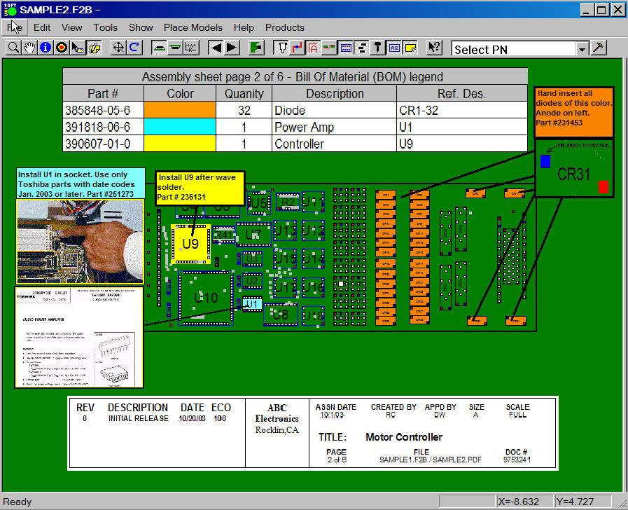 Gerber Viewer and CAD Viewer software for PCB to aid assembly and hyperlink schematic first article inspection repair and technician debug and technician troubleshooting