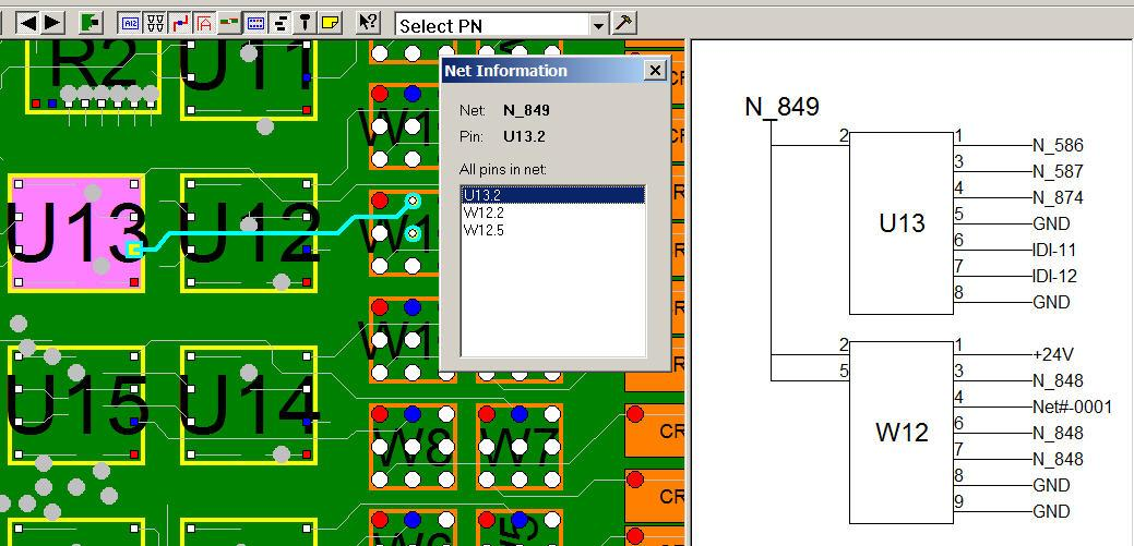 Netlist schematic linked to PCB assembly