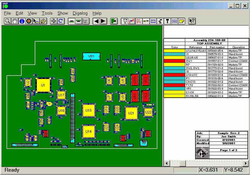 create pcb process documentation assembly sheets process aids with automatic assignment of unique colors and patterns to each part number on the assembly and assign separate colors to components for each assembly step add text and graphic annotations