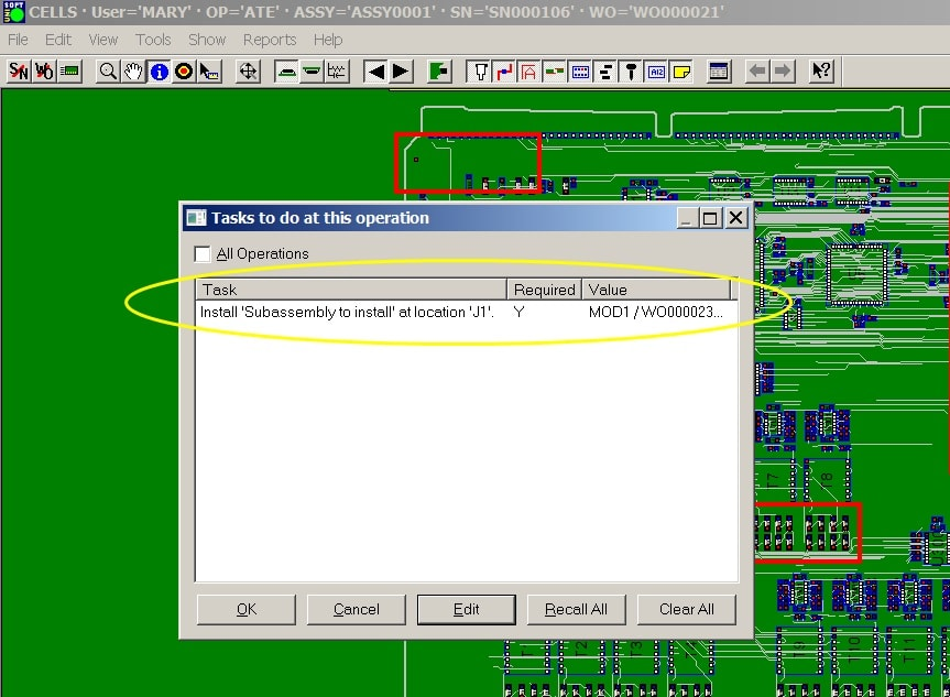 product job tracking mes software inspect assembly log data sub-assembly