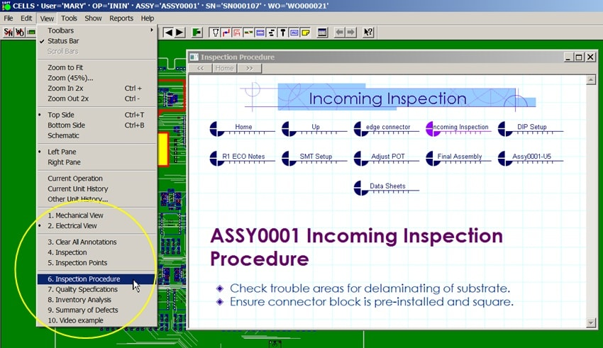 product job tracking software inspect assembly linked documents