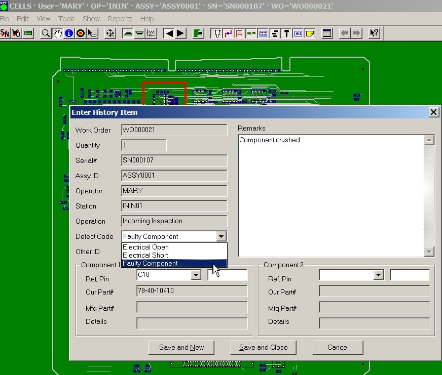 product job tracking mes software inspect assembly log data