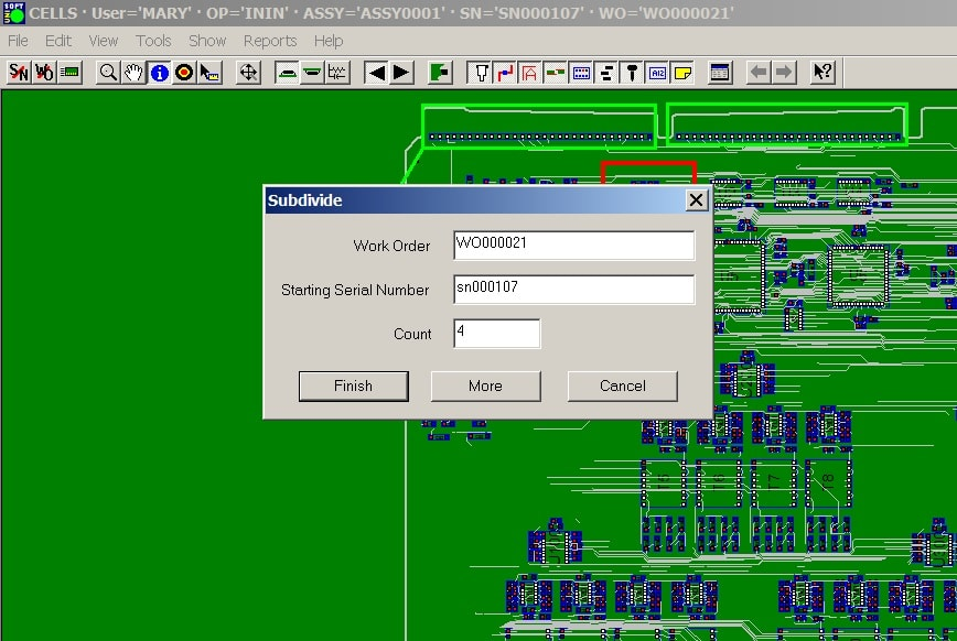 product job tracking mes software inspect assembly log data panelized
