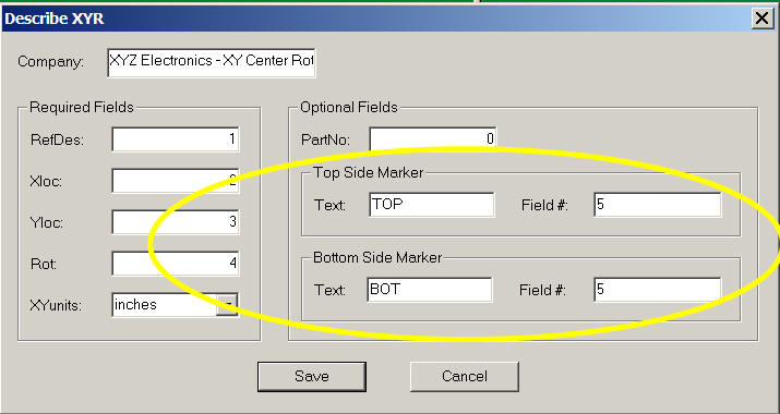 xy center rotation pcb importing for components or cad gerber importing