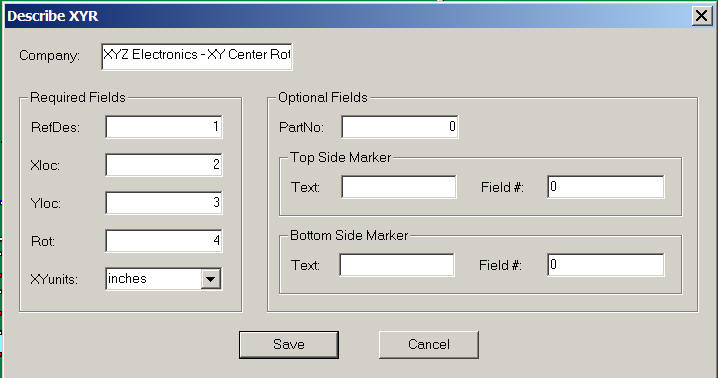 xy center rotation importing for components pcb or cad gerber importing