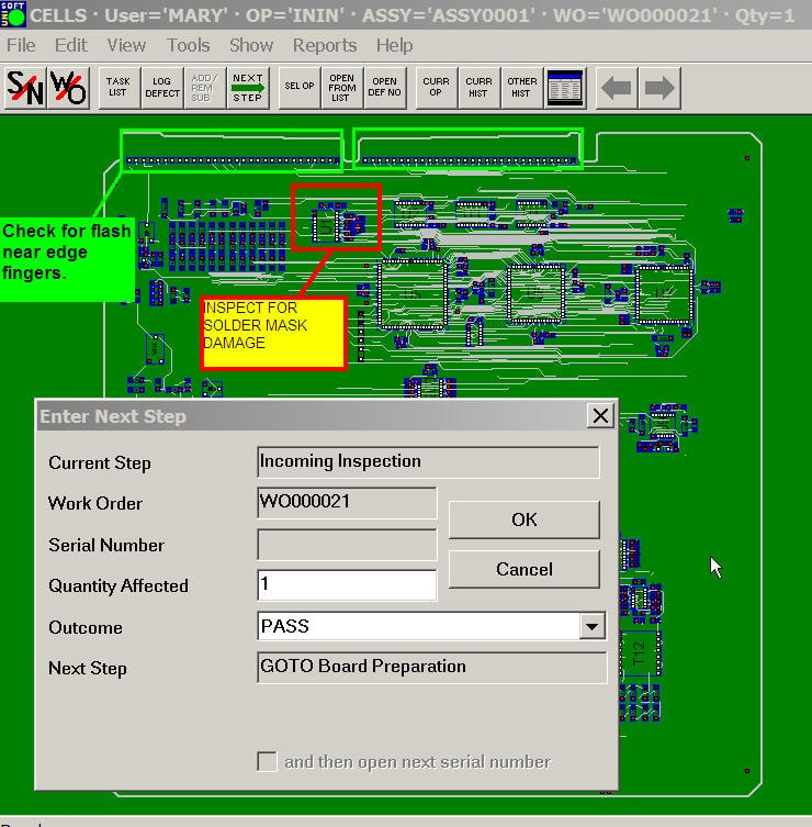 manufacturing execution system mes inspection spc wip production floor control plm erp software product tracking
